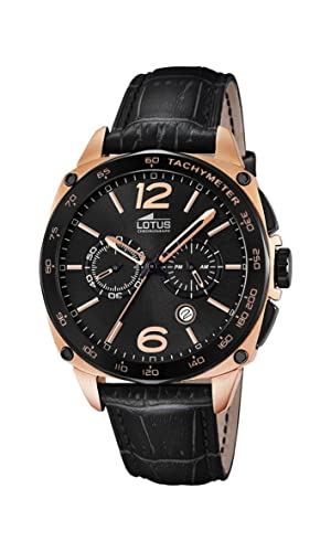 a1d7c9879ad2 Lotus Men's Quartz Watch with Black Dial Chronograph Display and ...
