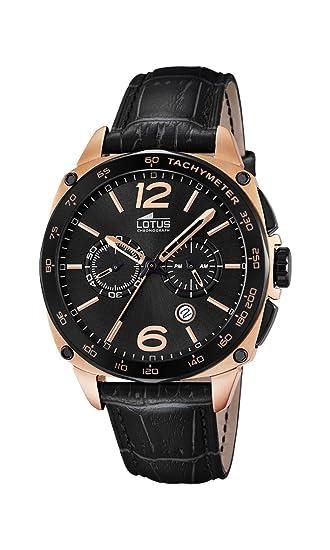 cb2e40648ca4 Lotus Reloj de Cuarzo Hombre con cronógrafo y Negro Correa de Piel ...