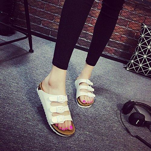 cork flop di Set sandali slip Estate 3 donne pantofole Le antiscivolo tasti on XIAMUO spiaggia di bianco flip piatto bambini's 40 coreane I64wS6pnq