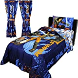 8pc Star Wars Twin Bedroom Set Rebels Fight Comforter Sheets and Window Panels with Tie-Backs