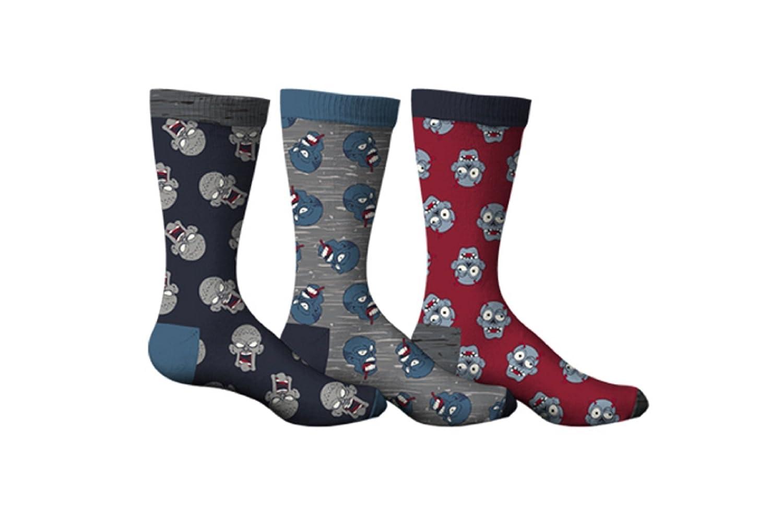 SPORTICUS Men's Fun Zombie 3-Pack Dress Socks