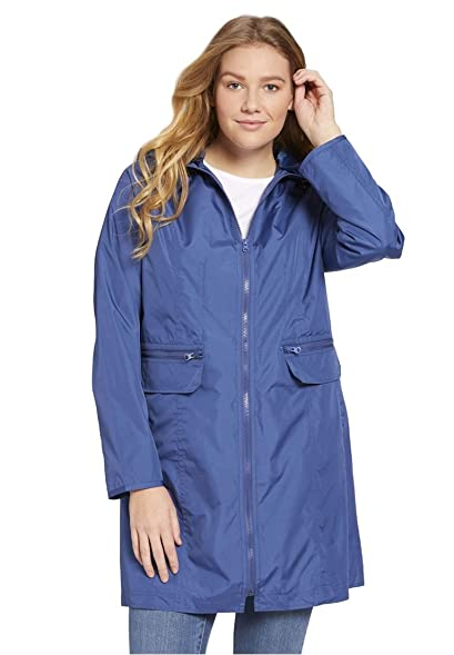 Woman Within Women's Plus Size Zip-Front Packable Rain Jacket at ...