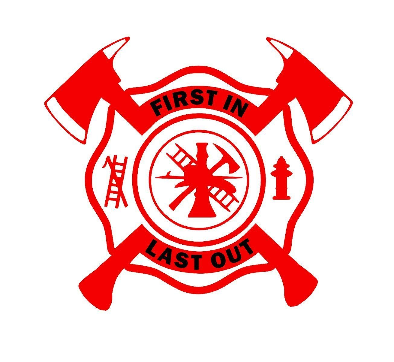 "FIRE RESCUE Fire Department DECAL 2 1//2/"" YELLOW VINYL with Green Cross Design"