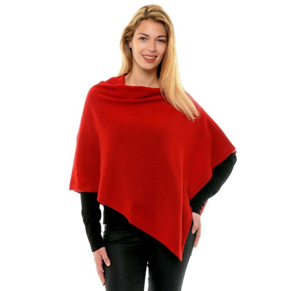 Deep Red LES POULETTES Womens 100% Cashmere Poncho 2 Plys Classics