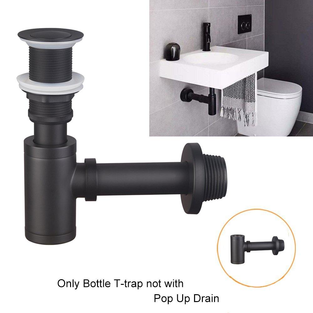 Shile Matte Black Brass Bottle P-Trap Wash Pipe Waste Adjustable Height Outlet for Basin Plumbing Bathroom Sink by Shile (Image #8)