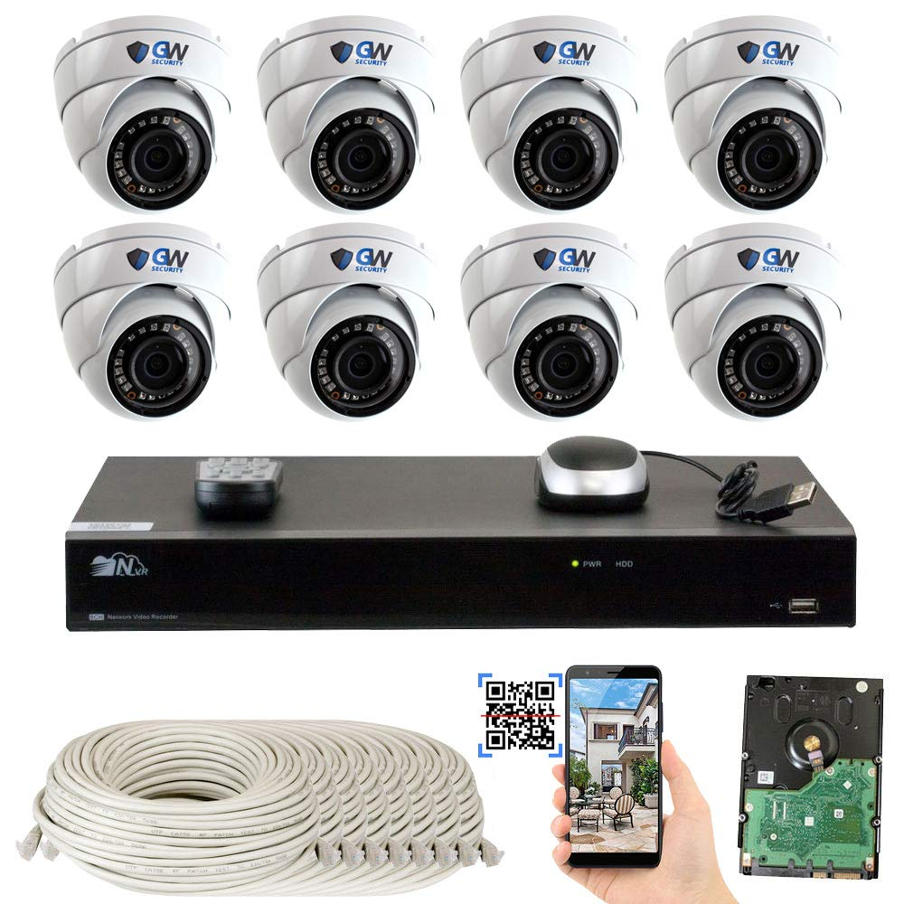 GW Security 8 Channel 4K NVR 5 Megapixel H.265 Security Camera System, 8 Built-in Microphone Audio Recording HD 1920P IP PoE Dome Cameras, QR-Code Connection