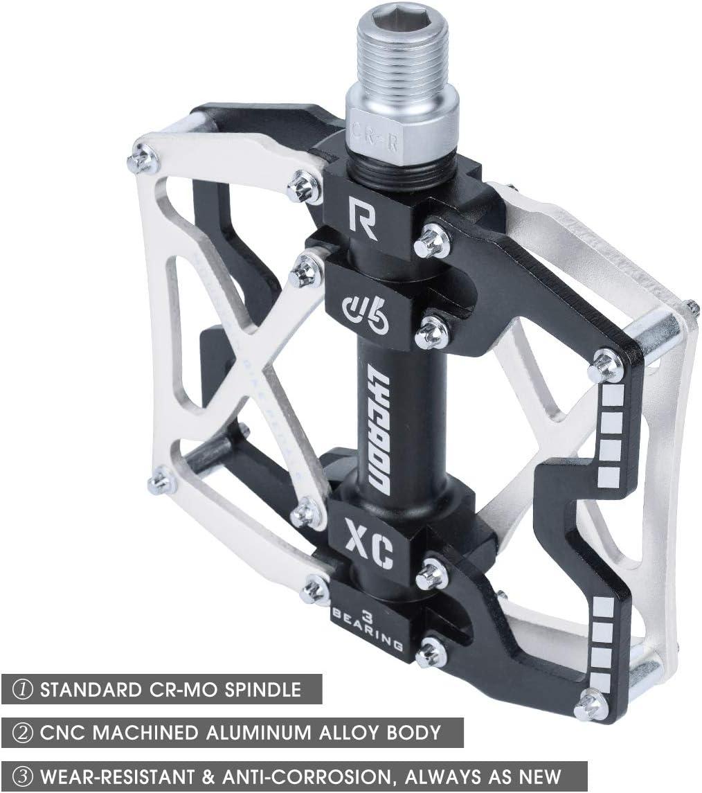 3 Lager Pedale f/ür 9//16 MTB BMX Fahrrad Mountain Road Bike CNC Aluminiumlegierung rutschfeste Cr-Mo Spindel Fahrrad Pedal LYCAON Fahrradpedale MTB Pedal