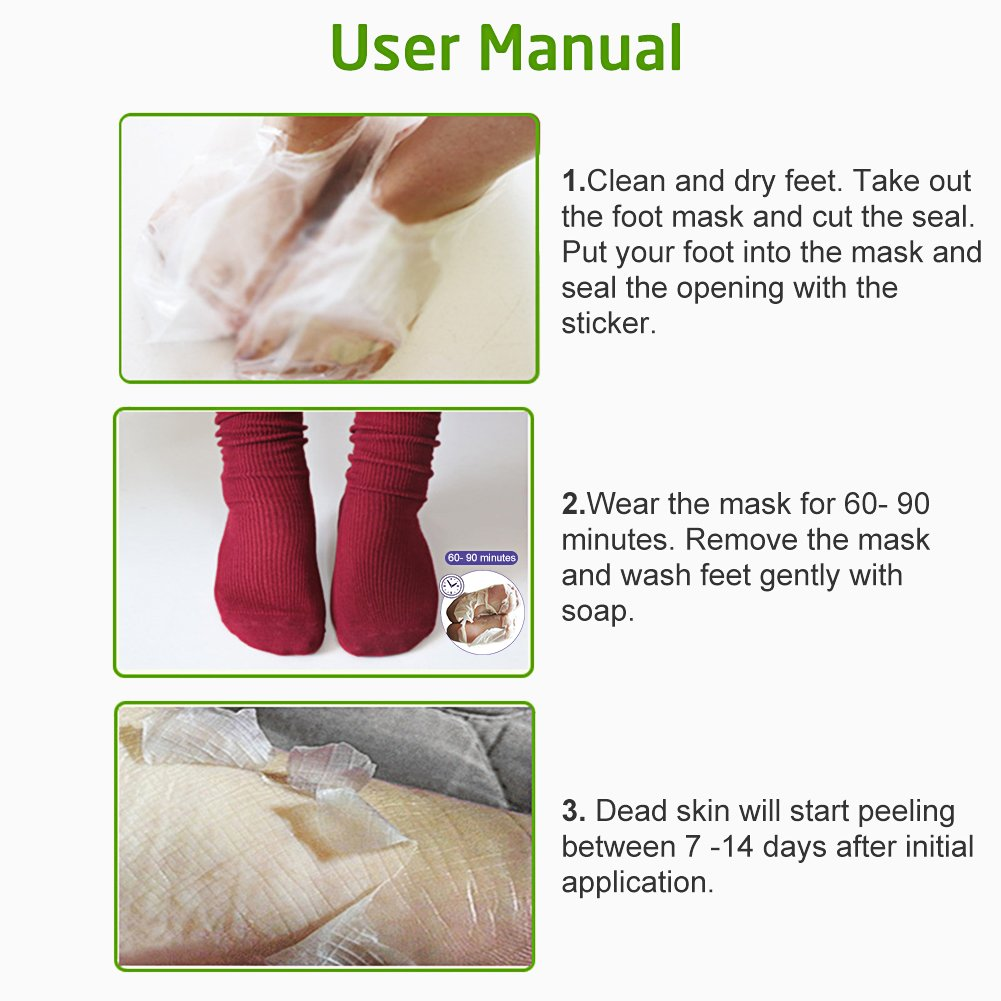 Foot Peel Mask,Exfoliating Foot Mask,Peeling away Calluses and Dead Skin Remover,Repair Rough Heels,Make Your Feet Baby Soft,Natural Aloe Extract-2 Pack by LDREAMAM (Image #4)