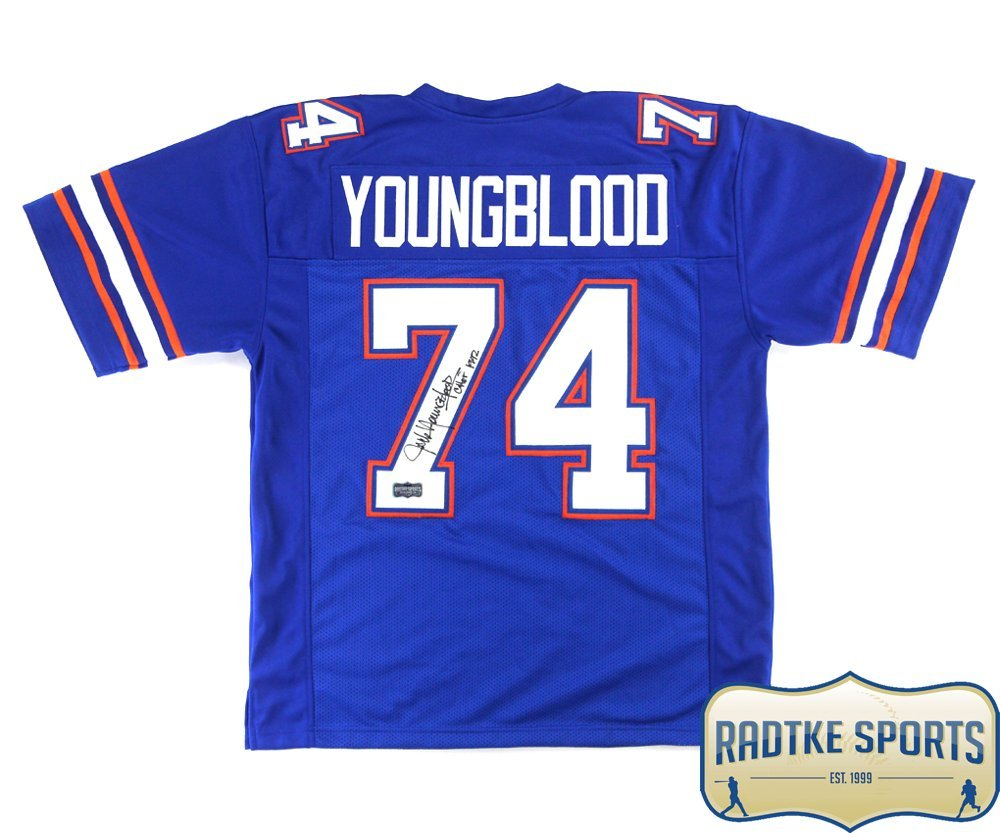 Jack Youngblood Autographed/Signed Florida Blue Custom Jersey with'CHOF 1992' Inscription Radtke Sports