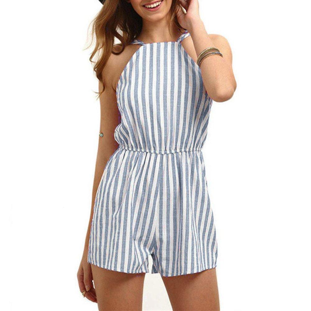 Women Club Jumpsuit,Jchen Women Summer Holiday Sleeveless Striped Print High Waisted Casual Beach Jumpsuit (L, Blue)