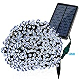Solarmks Outdoor String Lights Solar Christmas Lights 77 ft 8 Modes 220 Led Fairy Lights Outdoor Waterproof Garden Lights for Outdoor Decoration - Ambiance lighting for Patio - Lawn - Xmas Tree(White)