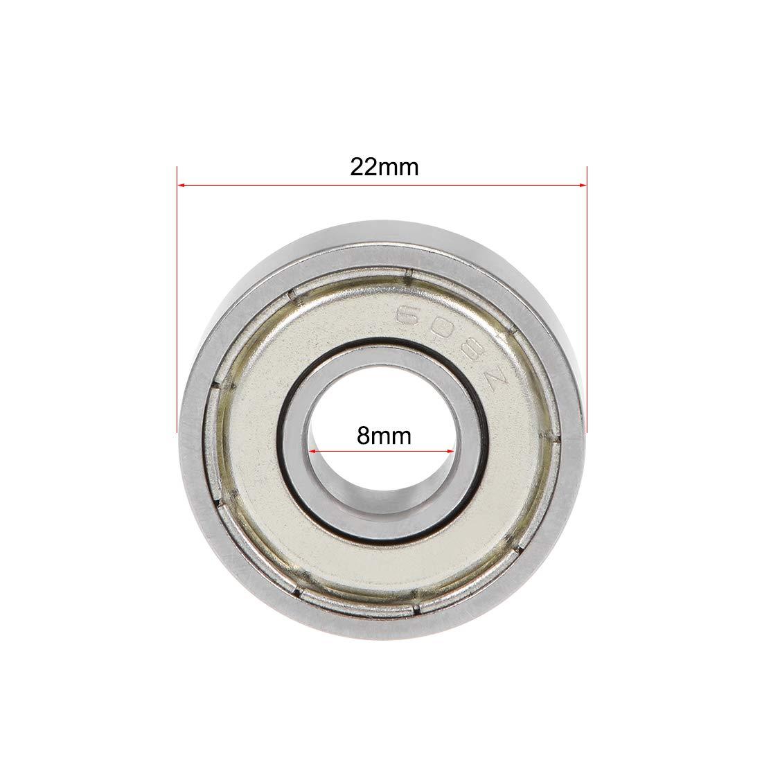 sourcing map MR128ZZ Rodamiento de bolas de ranura profunda 8x12x3.5mm Rodamientos de doble escudo de cromo 10pcs