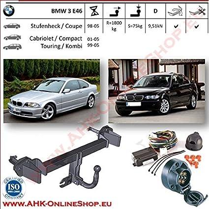 mit angeschraubtem Kugelkopf AHK Anh/ängerkupplung mit Elektrosatz 7 polig f/ür BMW 3-er E46 Kombi 1998-2005 Anh/ängevorrichtung H/ängevorrichtung starr