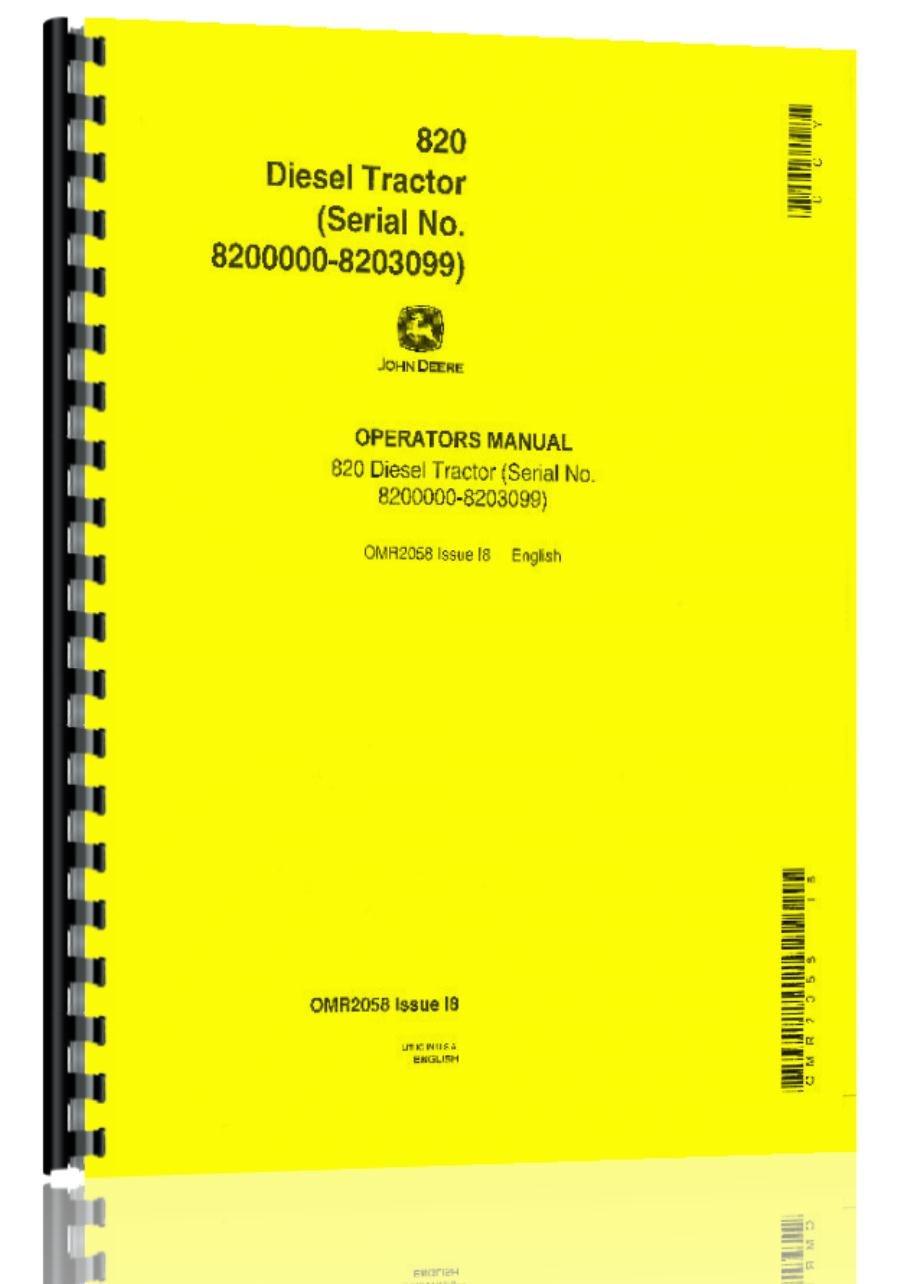Amazon.com: John Deere 820 Tractor Operator Manual s/n 820000-8203099: Books