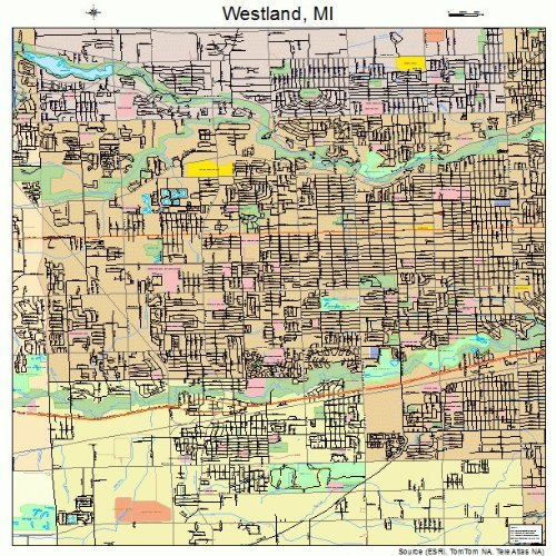 Large Street & Road Map of Westland, Michigan MI - Printed poster size wall atlas of your home - Map Westland