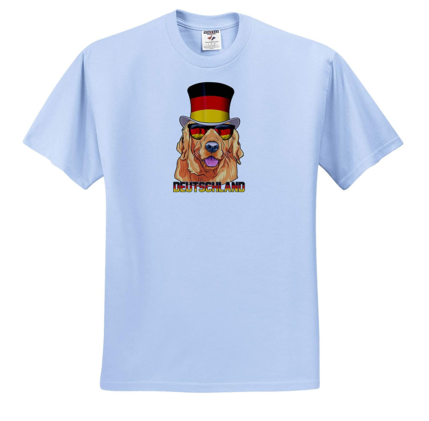 Germany Golden Retriever Dog with German Flag Top Hat and Sunglasses Illustrations T-Shirts 3dRose Carsten Reisinger