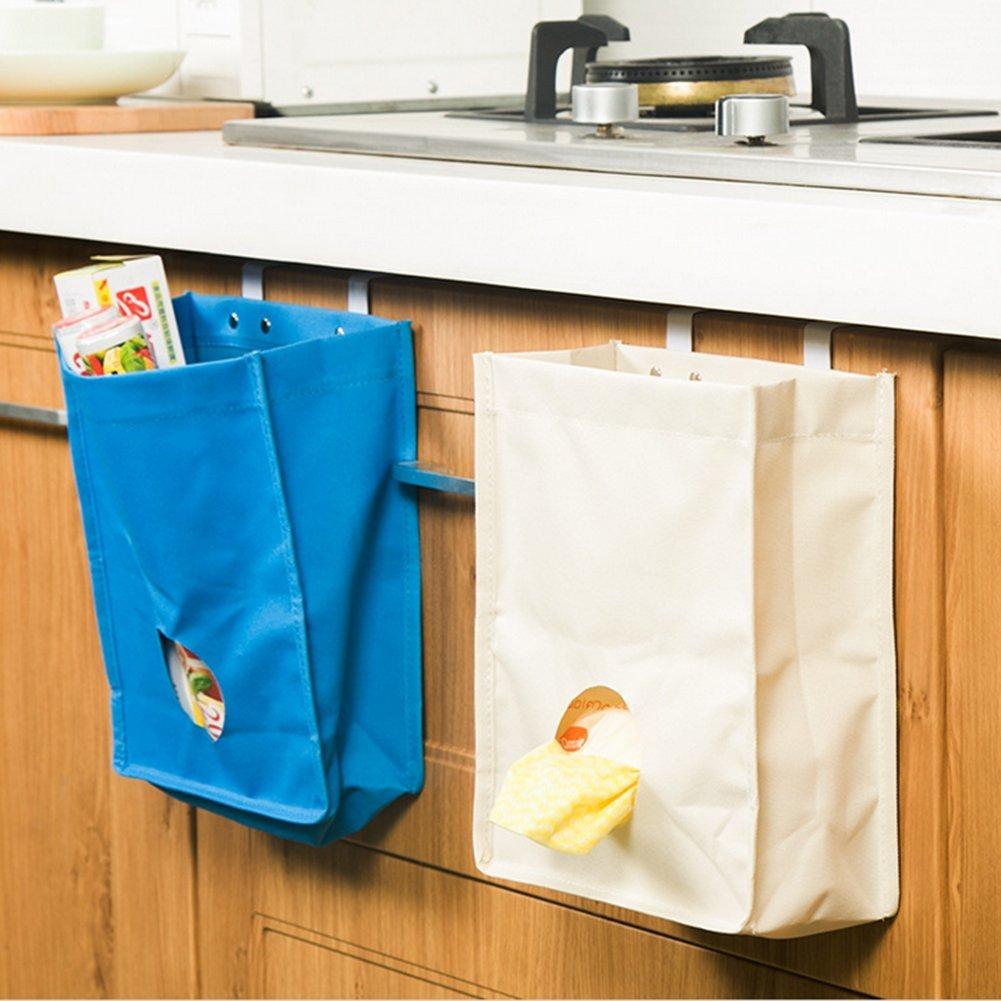 Queta Kitchen Storage Bag, Portable Oxford panno da cucina armadio porta Hanging Storage Bag sacco spazzatura organizer-blue Blue