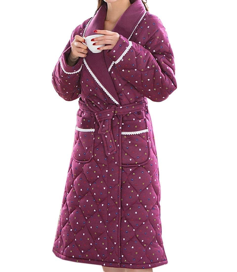 1 Keaac Women Cute Cotton Flannel Fleece Long Sleeve Cozy Bath Robe Sleepwear