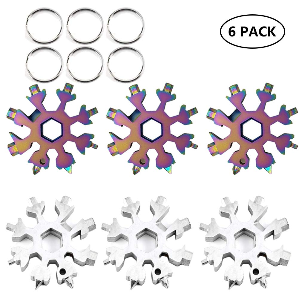 colorful 3pcs and white 3pcs Stainless Steel Snowflake MultiTool Incredible Portable 18in1 Keychain Screwdriver Bottle Opener Tool for Outdoor Camping (White 16pcs)