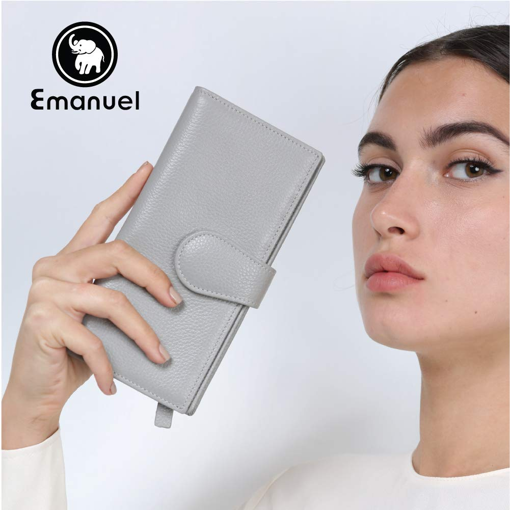 Slim Women's Leather Wallet (Light Grey) – RFID-Blocking Large Capacity Clutch with Phone Holder, ID Window – Premium Cowhide Leather Zippered Ladies Purse & Military Shielding Technology by Emanuel by Emanuel (Image #4)