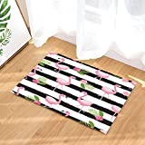 GoHeBe Bird Bath Rugs Cartoon Flamingo Pink Flower Leaf On Colourless Strpe Decor Non-Slip Doormat Floor Entryways Indoor Front Door Mat Kids Bath Mat 15.7x23.6in Bathroom Accessories