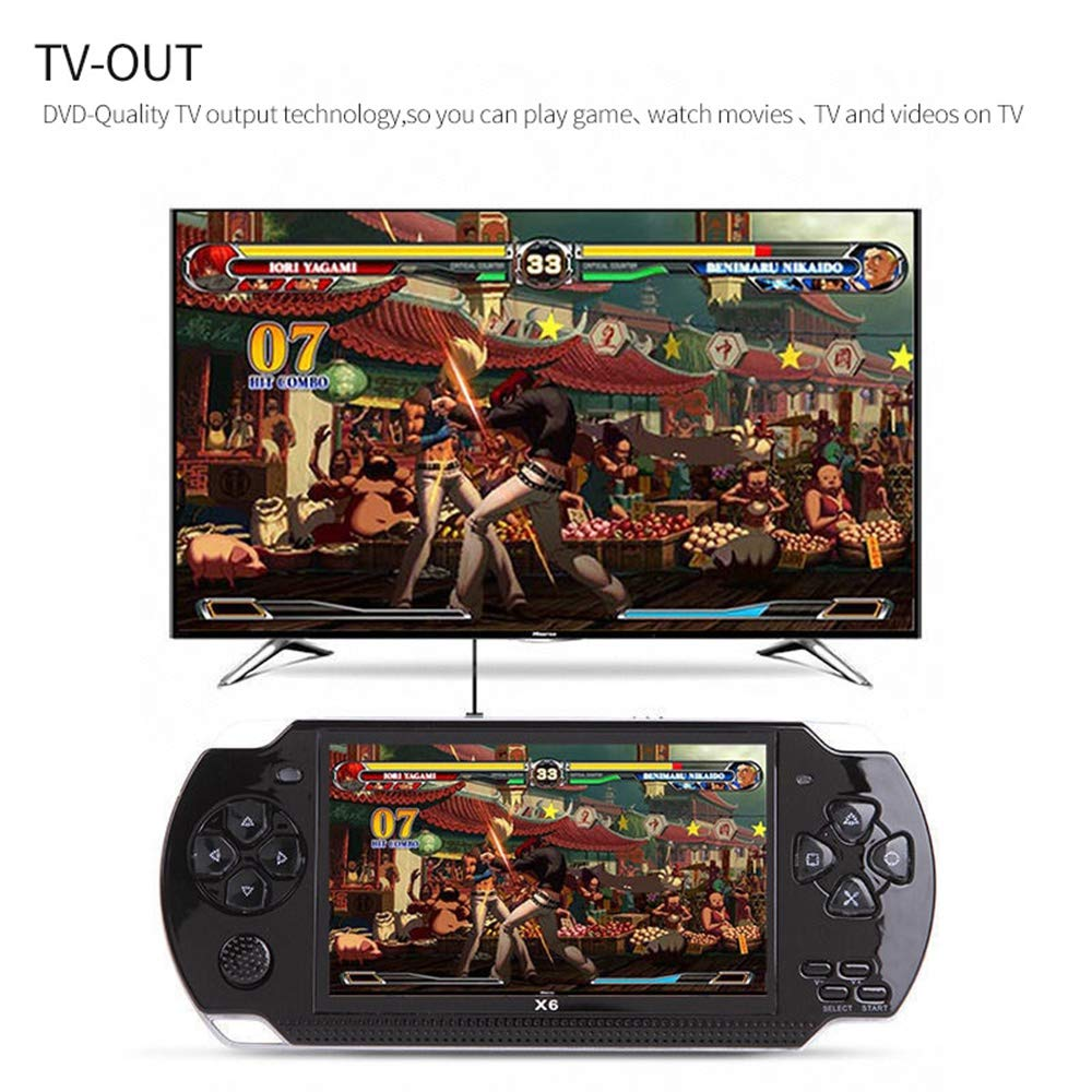 Womdee Handheld Game Console with Built in Games,Portable Video Games for Kids Retro,Built-in 500 Classic Video Games Player with 4.3'' 8GB System for Birthday Presents Kids Children Adults (Black) by Womdee (Image #5)