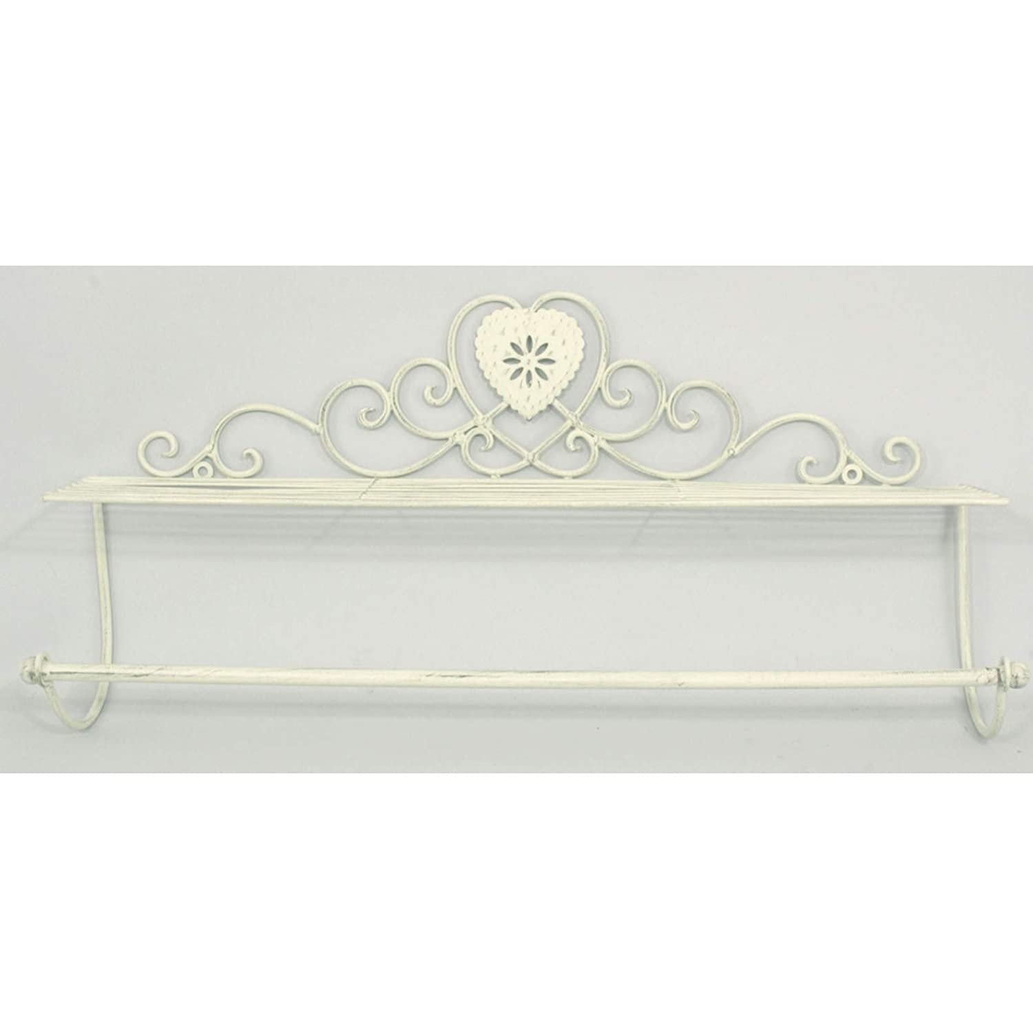 Interior Flair Shabby Chic Antique Grey Painted Metal Towel Rail Holder