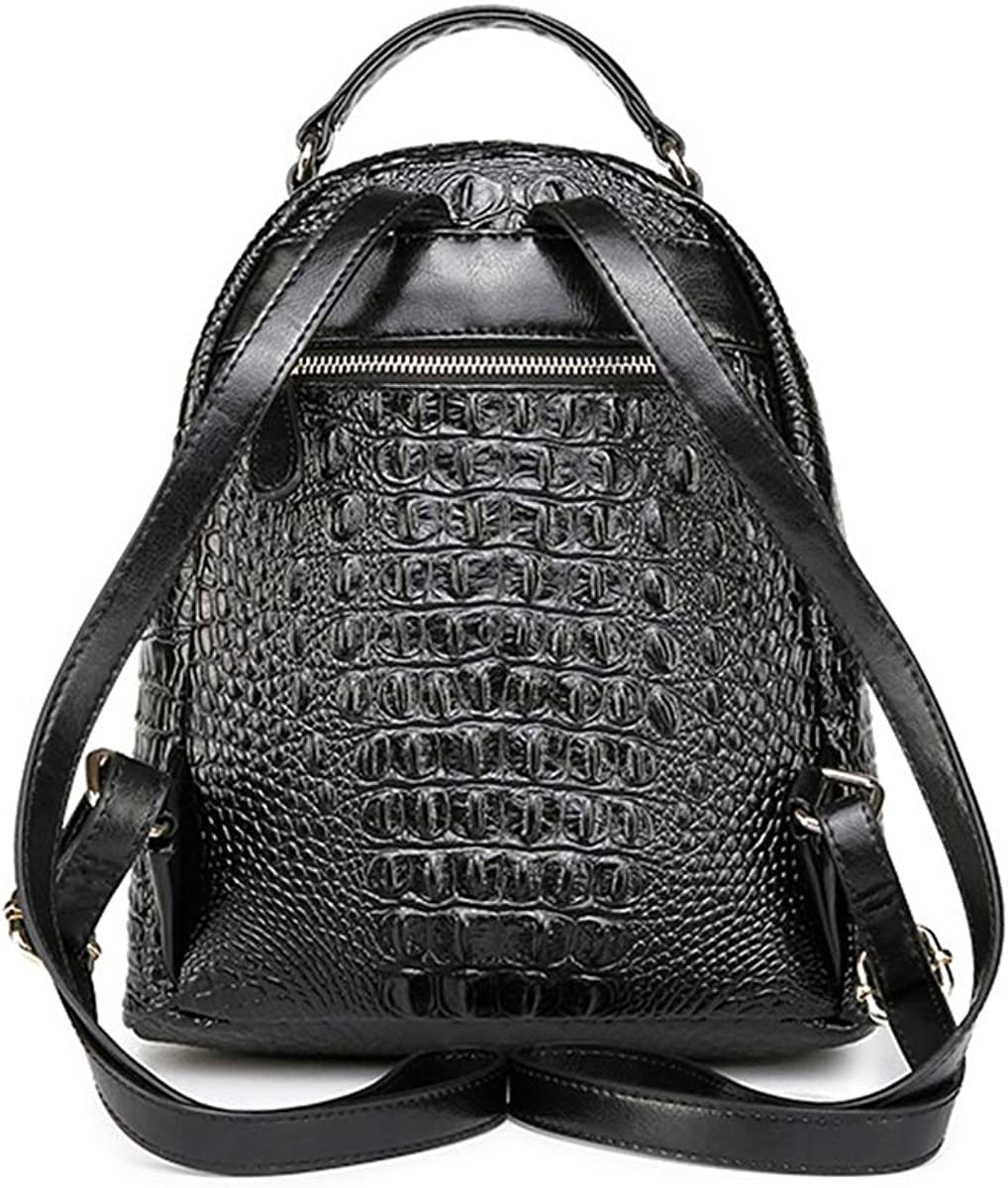 Large Capacity Kalmar Leather Handbag 2019 New Crocodile Pattern Casual Morden Leather Backpack Large Capacity Handbags Travel Bag Nappy Tote Bags for Mom /& Dad Color : Black
