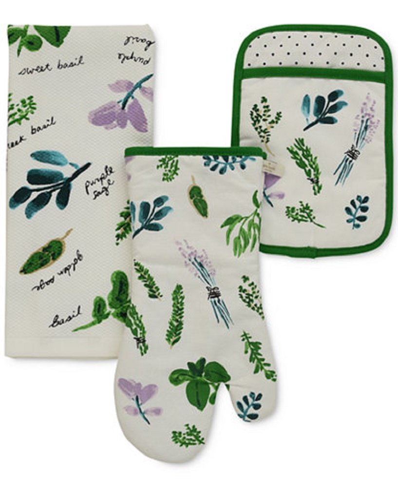 Kate Spade New York All in Good Taste 3 PC Oven Mitt Potholder & Towel Homegrown Garden Design