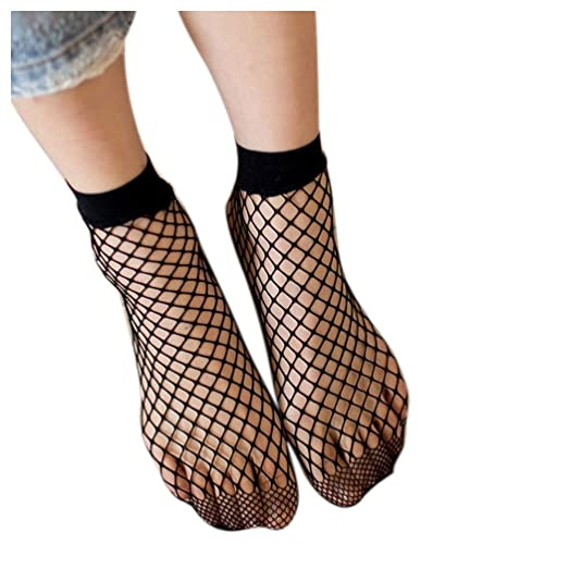 Women Fishnet Socks Inkach Girls Fish Net Socks Sexy Lace Fishnet Net Plain Top-Ankle Short Socks Stylish Black
