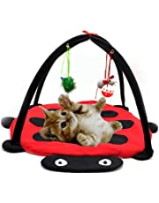 Freeas Hund Katze Mobile Aktivität Spiel Mat Pet Gepolsterte Bett mit Hängende Spielzeug Glocken Bälle und Mäuse