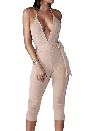 aff67259dc0 Amazon.com  Jennyarn Women Sexy Sparkly V Neck Halter Sleeveless Backless Bodycon  Jumpsuit Belted Romper  Clothing