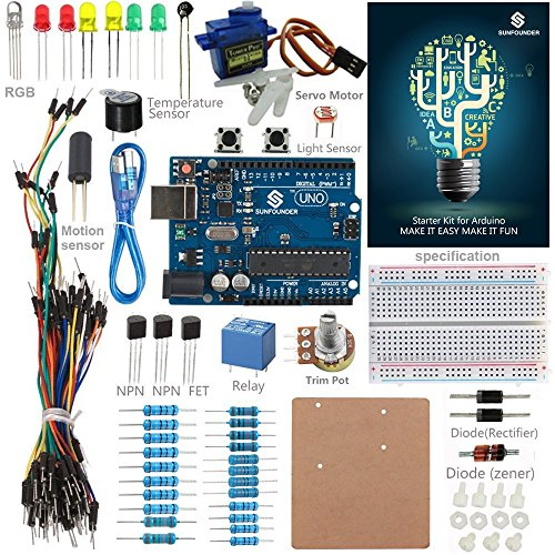 SunFounder Starter Kit Standard for Arduino Uno R3 Mega 2560 Nano Circuit Board Jumper Wires Sensors Breadboard Electronics With Uno Detail Manual