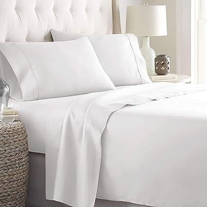 06587931bd1a LINENWALAS Queen Bedding Set | 100% Cotton | 800 Thread Count - Bed Room  Set | Deep Pocket Sheets - White Sheet Set, India (Queen, White)