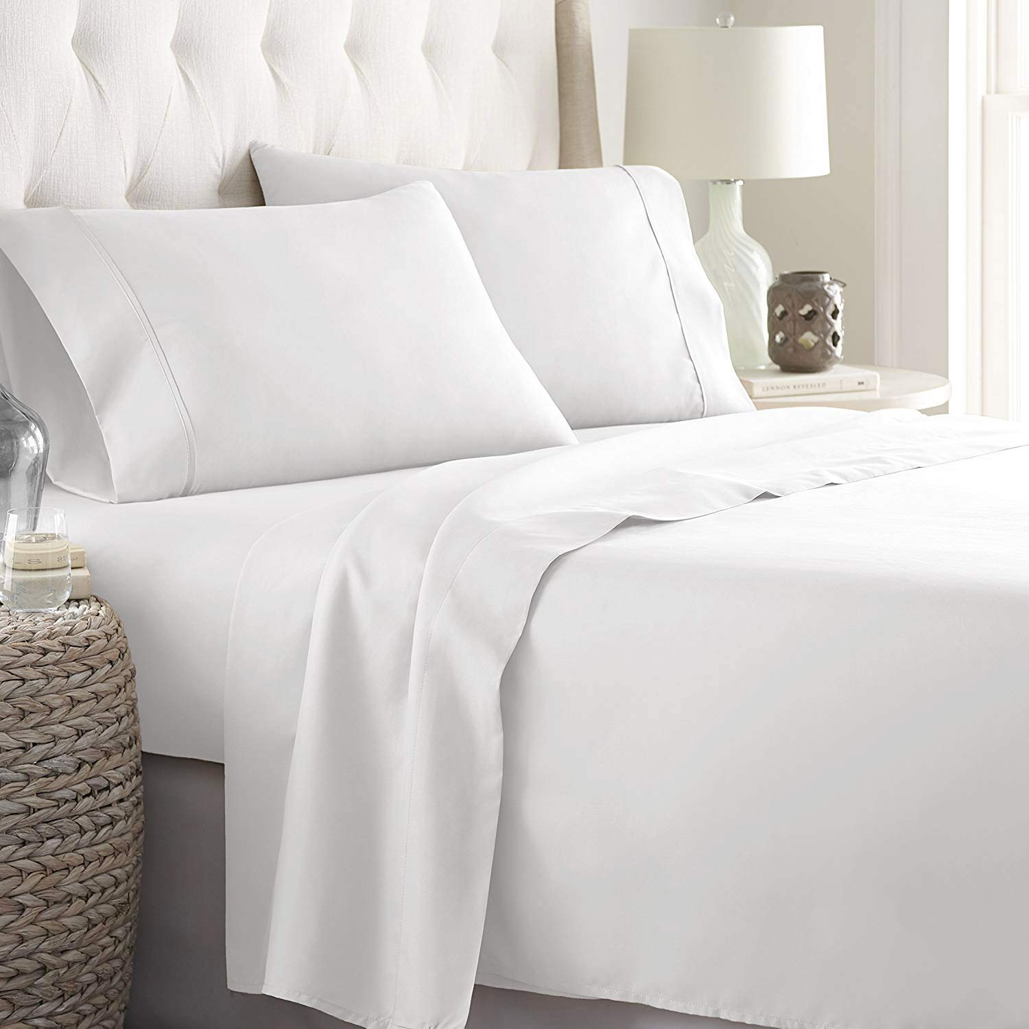 LINENWALAS 800 Thread Count 100% Egyptian Cotton Extra Long Twin Bed Sheet – Satin Weave Bedding Set | Silk Like Soft & Pockets, Breathable Set of 3 (Twin XL, White)