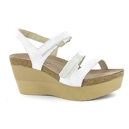 82c0c01e3715c Naot Footwear Women s Canaan White Snake Leather Silver Luster Leather  Sandal 41 (US Women s