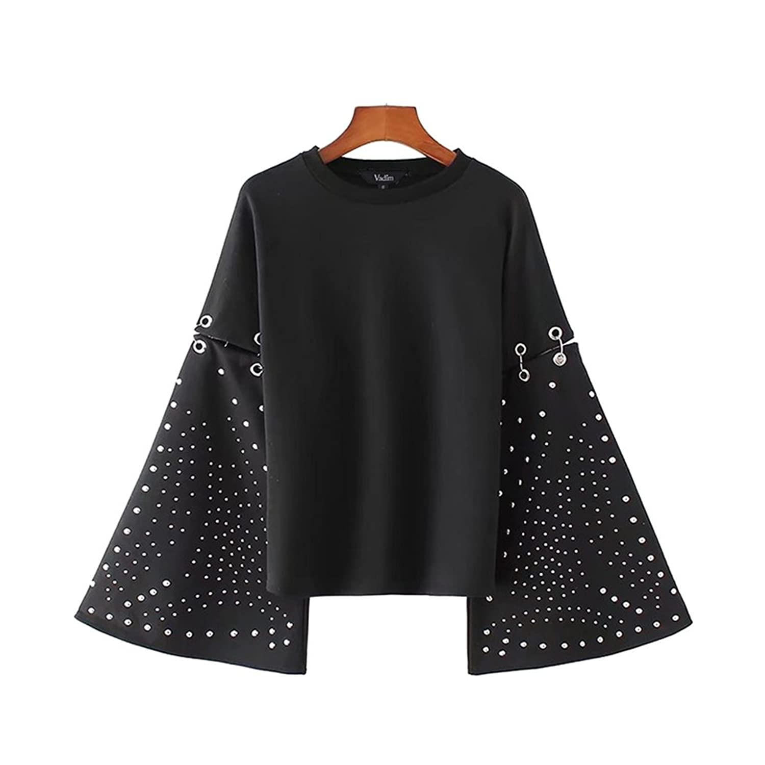 hongweixinxi Vadim women flare sleeve rivet loose sweatshirts studded oversized o neck black pullovers autumn female casual tops LT2203 at Amazon Womens ...
