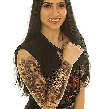 Tatuaje de brazo XXL – Veritas Aequitas Calavera Paloma Reloj ...