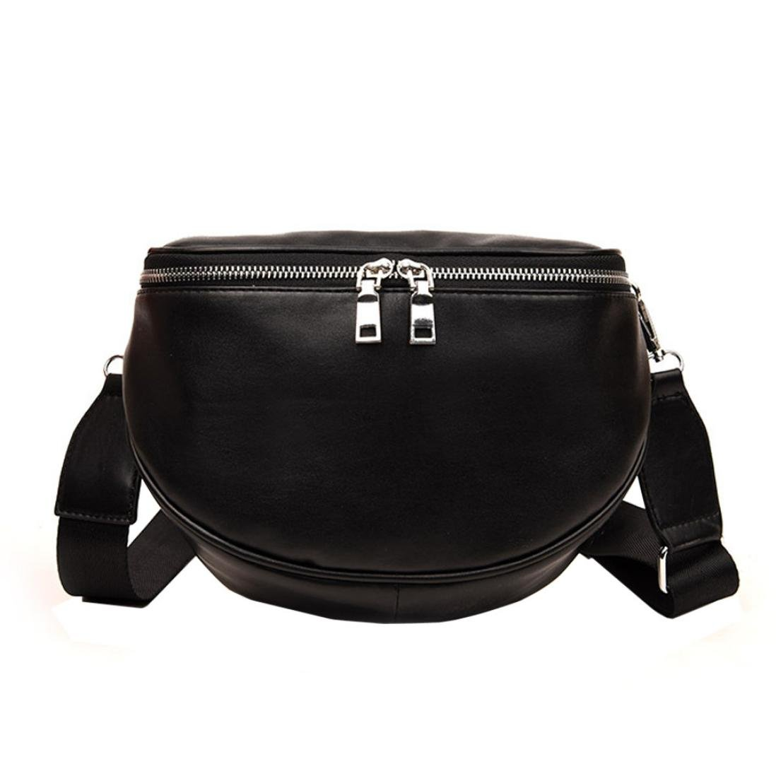 Fashion Women Black Zipper Shell Leather Crossbody Bag Chest Bag Napoo-Bag
