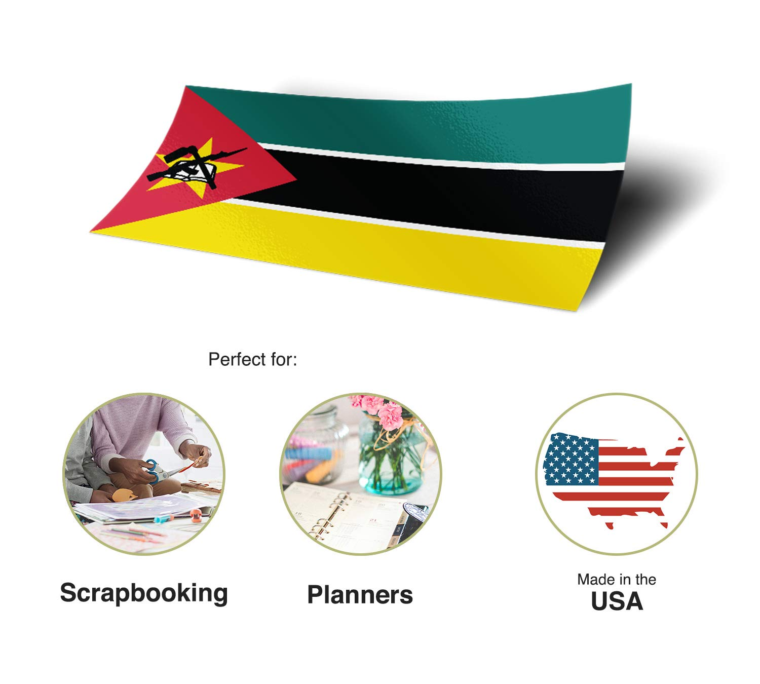 Desert Cactus Mozambique Country Flag Sticker Decal Variety Size Pack 8 Total Pieces Kids Logo Scrapbook Car Vinyl Window Bumper Laptop V