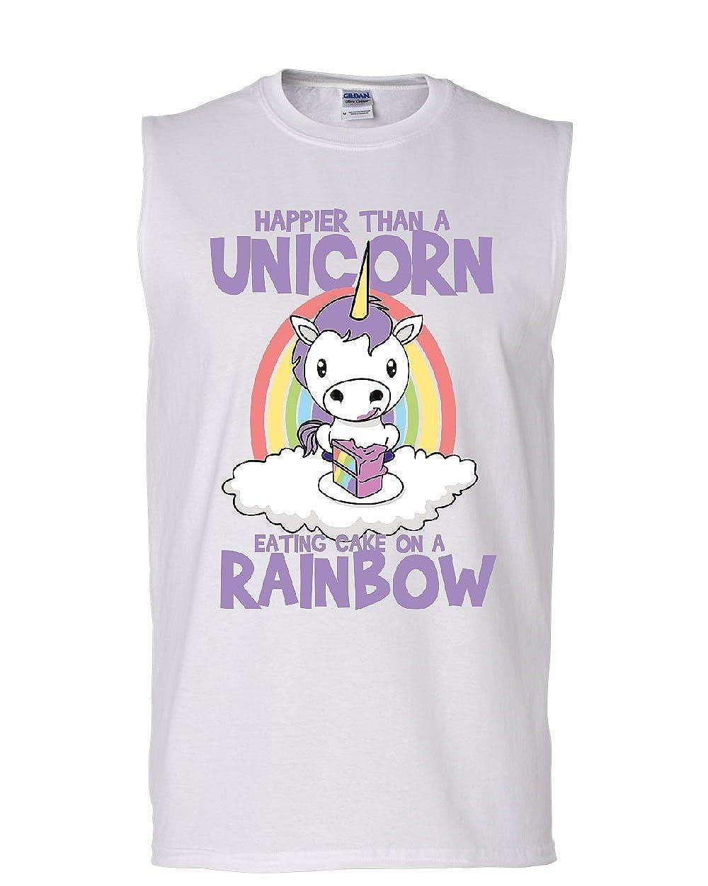 Tee Hunt Unicorn Eating Sweet Rainbow Cake Muscle Shirt Stars Fantasy Magic Sleeveless