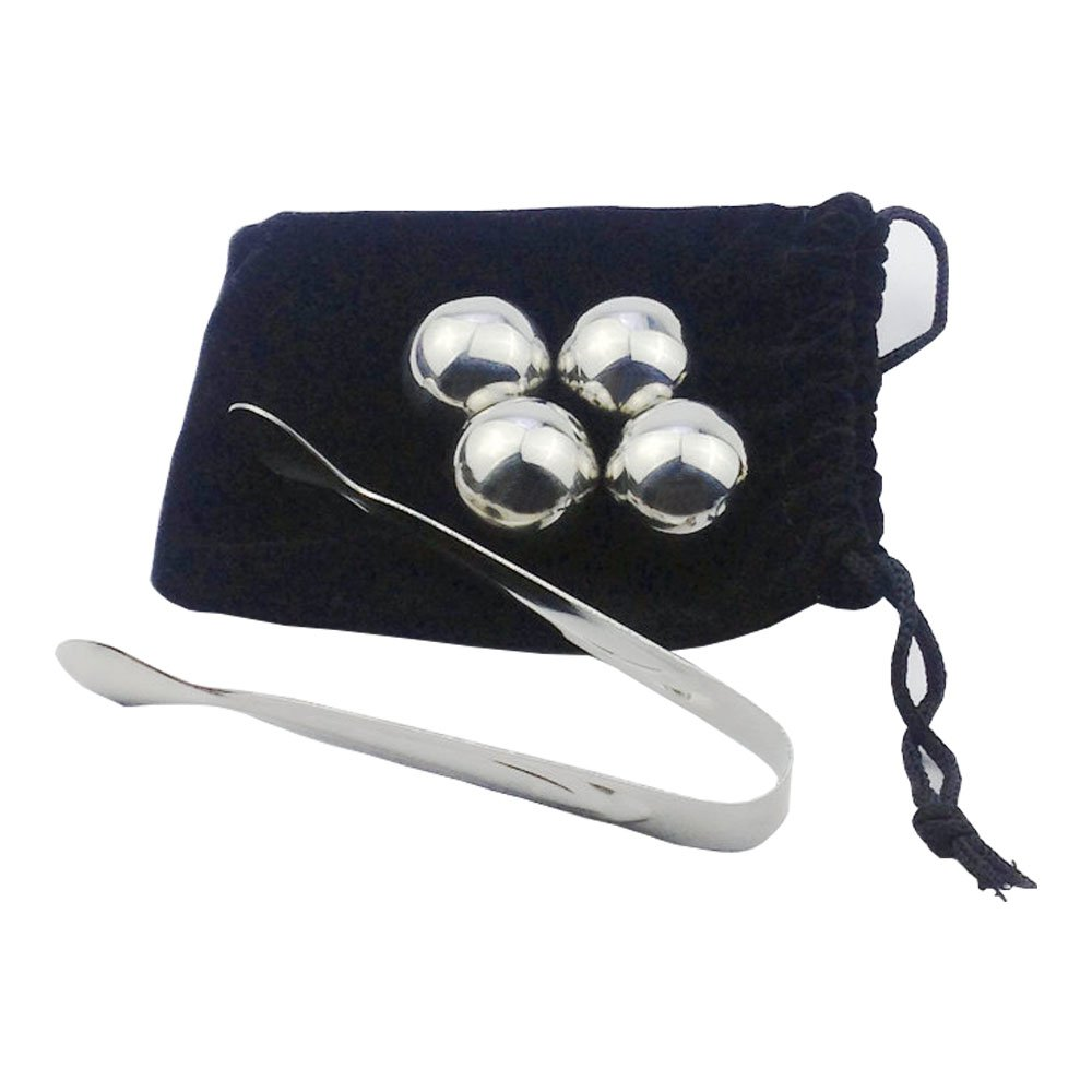 Mydio Set of 4 Stainless Steel Whiskey Big Ice Balls,With Tongs And Storage Bag