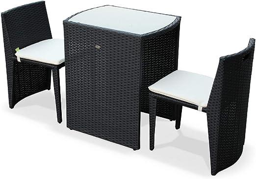 Alices Garden - Conjunto de Mesa y sillas de Jardin Ratan Sintetico - Negro/Marron, Cojines Crudo - 2 plazas - Doppio: Amazon.es: Jardín