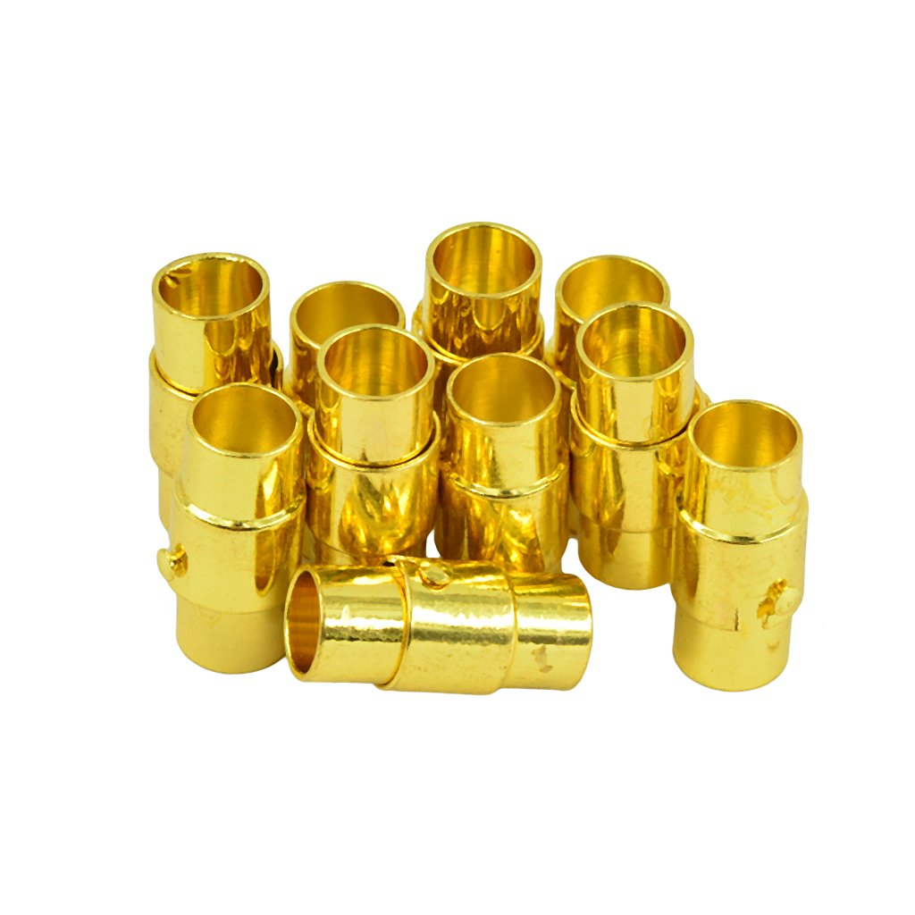 Gold 4mm MonkeyJack 10 Sets Leather-Kumihimo Brass Glue In Magnetic Clasp Slide Lock Bracelet DIY Jewelry Making 4mm 6mm