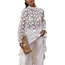 10608cbeafdb PRETTYGARDEN Women's Lantern Long Sleeve Round Neck High Low Asymmetrical Irregular  Hem Casual Tops Blouse Shirt ...