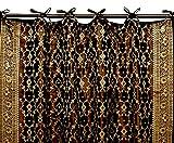 Indian Kela Sari Curtain Panel (Black) For Sale