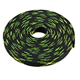 uxcell PET Braided Sleeving 16.4 Feet 5m Expandable Cable Wrap 12mm Diameter Wire Sheath Black,Fluorescent Green