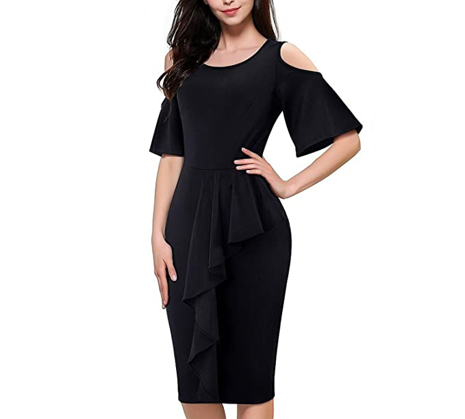 Fresh -house Vintage Ruffle Flare Sleeve O-Neck Vestidos Shoulder Peplum Pencil Dress B396, Black, M at Amazon Womens Clothing store: