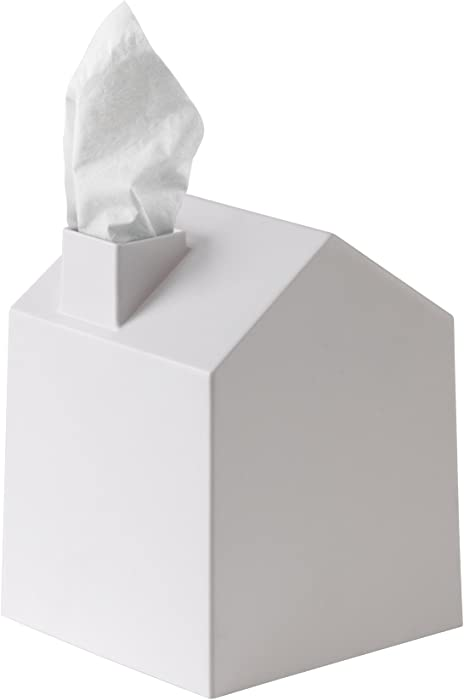 Umbra Casa Tissue Box Cover - Adorable House Shaped Square Tissue Box Holder for Bathroom, Bedroom or Office, White