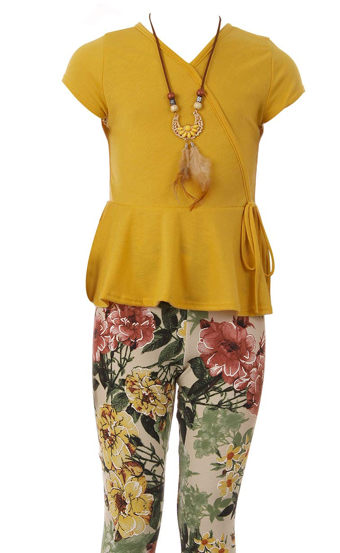 Big Girl 3 Pieces Blouse Top Floral Legging Necklace Winter Girl Pant Set Mustard 8 JKS 2140